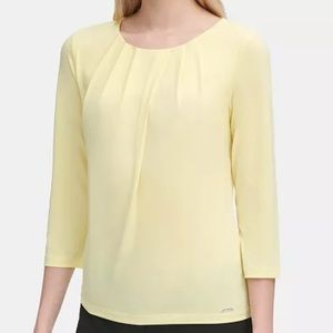 Calvin Klein Yellow Pleated Scoop Neck Top, Size S